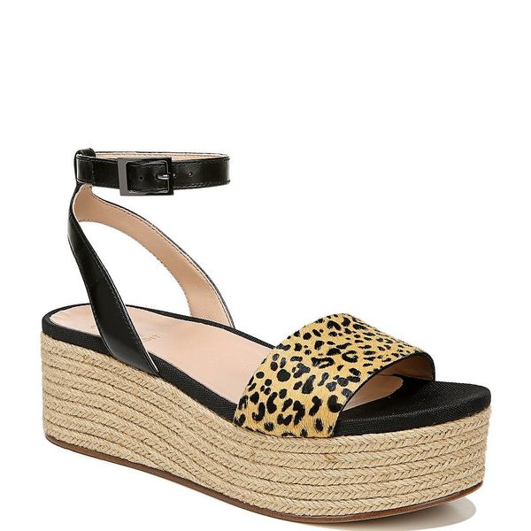 27エディット レディース サンダル シューズ Jamari Leather and Leopard Print Calf Hair Espadrille Platform Sandals Dot Print Calf