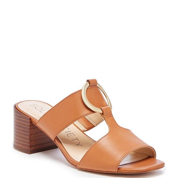 ソロソサエティ レディース サンダル シューズ Slonah Leather Block Heel Square Toe Slide Sandals Acacia Tan