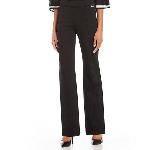 カルバンクライン レディース カジュアルパンツ ボトムス Power Stretch Knit Seamed Straight-Leg Pull-On Pants Black