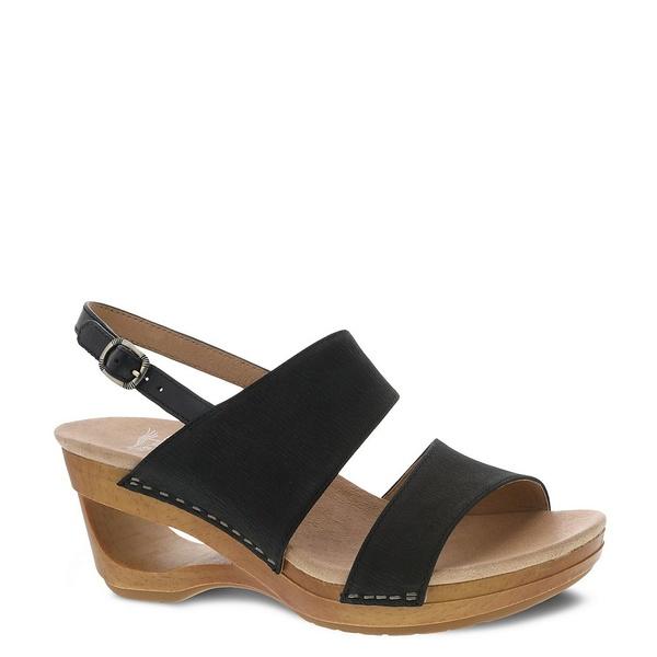 Black Wedge レディース Textured ダンスコ シューズ Sandals サンダル Tamia Leather