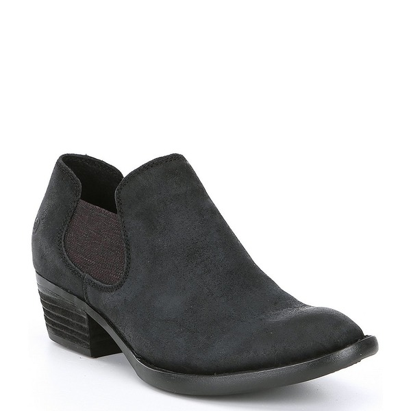 ボーン レディース ブーツ&レインブーツ シューズ Dallia Chelsea Distressed Suede Block Heel Shooties Black