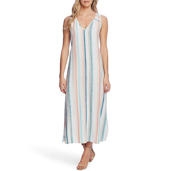 ヴィンスカムート レディース ワンピース トップス Linen Blend Stripe Midi Dress Ocean Wave