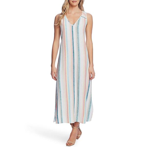ヴィンスカムート レディース ワンピース トップス Linen Blend Stripe Midi Dress Ocean Wave
