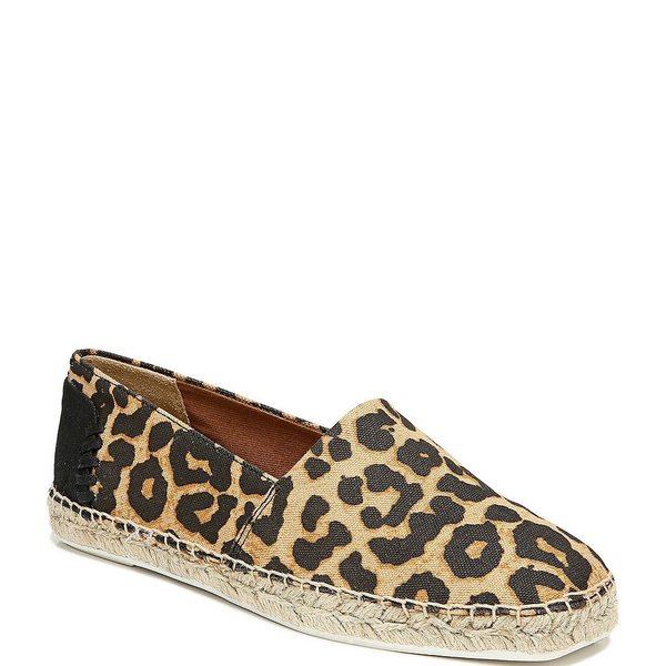 フランコサルト レディース スニーカー シューズ Kenna Leopard Print Square Toe Espadrille Flatform Slip Ons Camel
