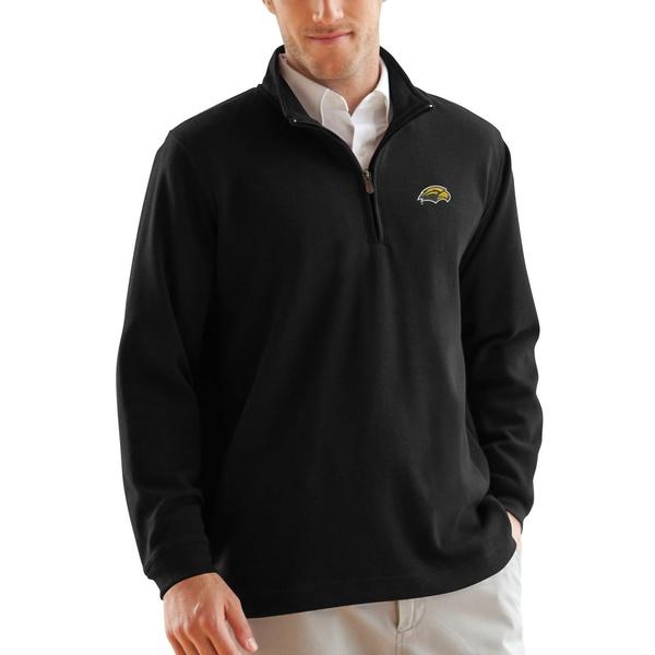 ビンテージアパレル メンズ ジャケット&ブルゾン アウター Southern Miss Golden Eagles FlatBack Rib 1/4Zip Pullover Sweater Black