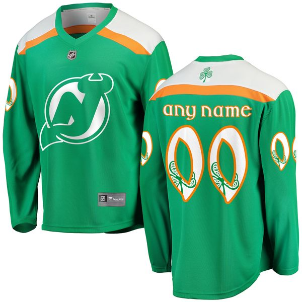 ファナティクス メンズ ユニフォーム トップス New Jersey Devils Fanatics Branded St. Patrick's Day Home Replica Custom Jersey Green