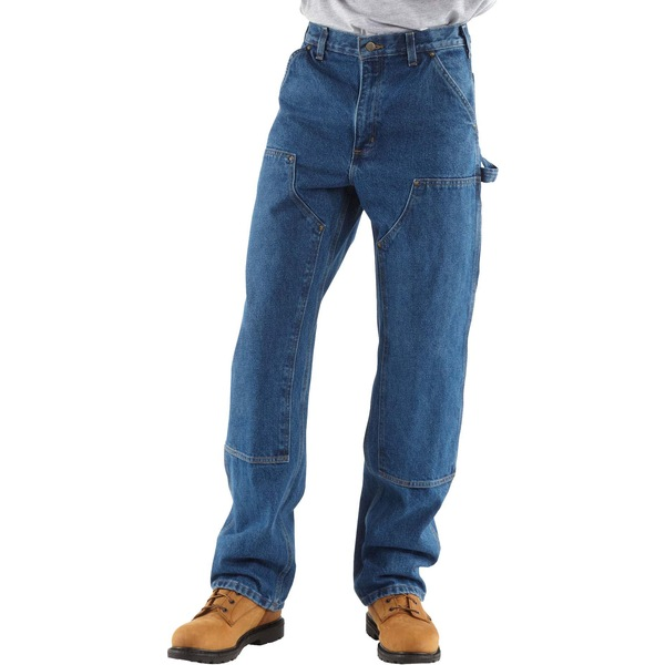 カーハート メンズ カジュアルパンツ ボトムス Carhartt Men's Double Front Washed Denim Logger Dungarees (Regular and Big & Tall) Darkstone