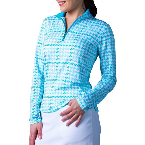 サン ソレイユ レディース シャツ トップス SanSoleil Women's SolTek ICE -Zip Golf Pullover MaudTurquoise