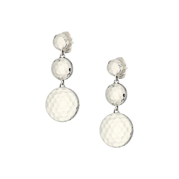 ジョン・ハーディー レディース ピアス&イヤリング アクセサリー Dot Hammered Triple Drop Linear Earrings Silver