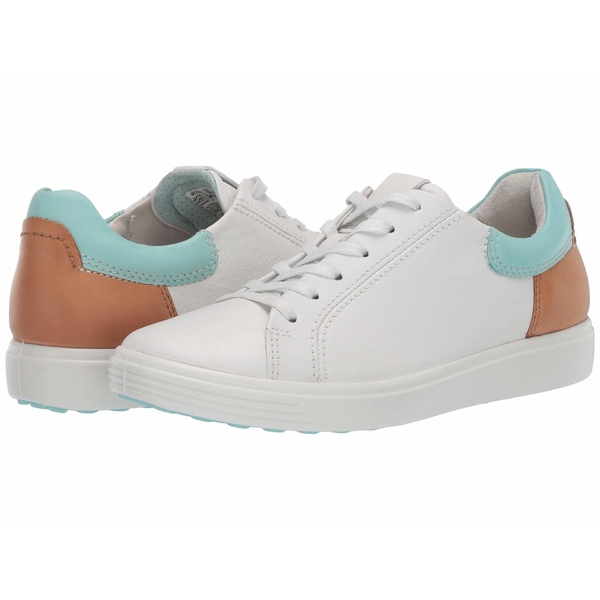 エコー レディース スニーカー シューズ Soft 7 Street Sneaker White/Eggshell Blue/Lion Cow Leather/Cow Leather/Cow Nubuck