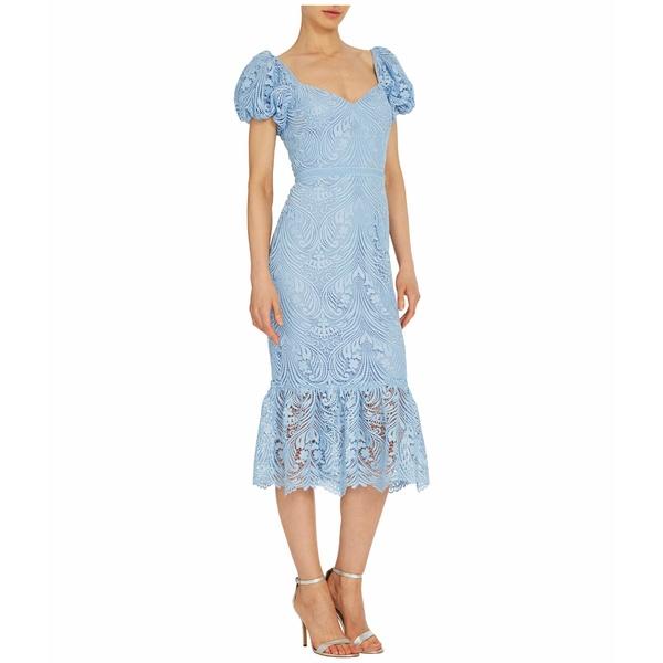 MLモニックルイラー レディース ワンピース トップス Short Sleeve Lace Midi Dress w/ Ruffled Hem French Blue
