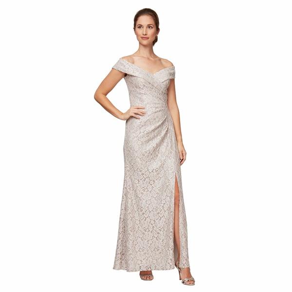 アレックスイブニングス レディース ワンピース トップス Long Off-the-Shoulder Fit-and-Flare Lace Dress Taupe