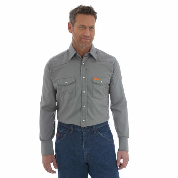 ラングラー メンズ シャツ トップス Flame Resistant Snap Long Sleeve Lightweight Work Shirt Charcoal