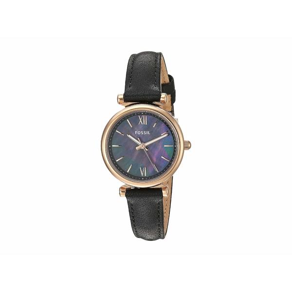 フォッシル レディース 腕時計 アクセサリー Carlie Mini Three-Hand Leather Watch ES4700 Rose Gold Black Leather