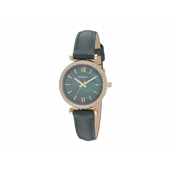 フォッシル レディース 腕時計 アクセサリー Carlie Mini Three-Hand Leather Watch ES4651 Gold Dark Green Leather