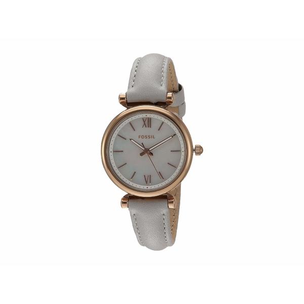 フォッシル レディース 腕時計 アクセサリー Carlie Mini Three-Hand Leather Watch ES4529 Rose Gold Mineral Gray Leather