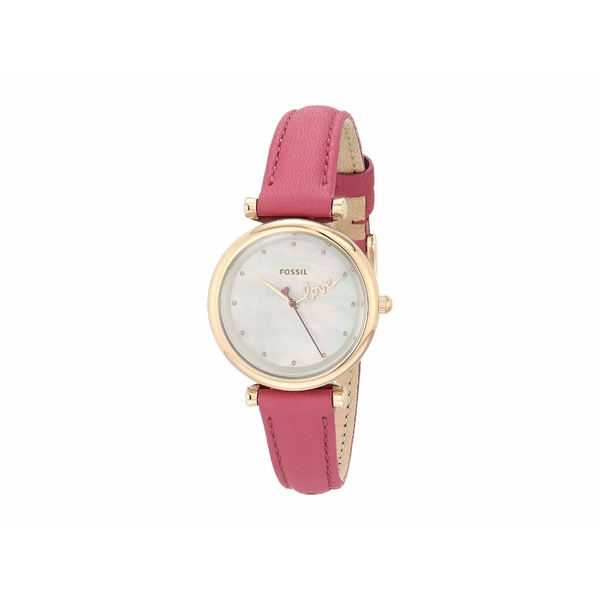 フォッシル レディース 腕時計 アクセサリー Carlie Mini Three-Hand Leather Watch ES4827 Rose Gold Fuchsia Leather