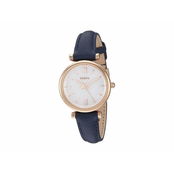 フォッシル レディース 腕時計 アクセサリー Carlie Mini Three-Hand Leather Watch ES4502 Rose Gold Navy Blue Leather