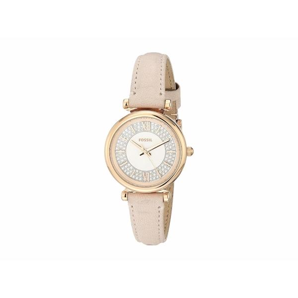 フォッシル レディース 腕時計 アクセサリー Carlie Mini Three-Hand Leather Watch ES4839 Rose Gold Nude Leather