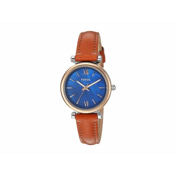 フォッシル レディース 腕時計 アクセサリー Carlie Mini Three-Hand Leather Watch ES4701 Silver/Rose Gold Tan Leather