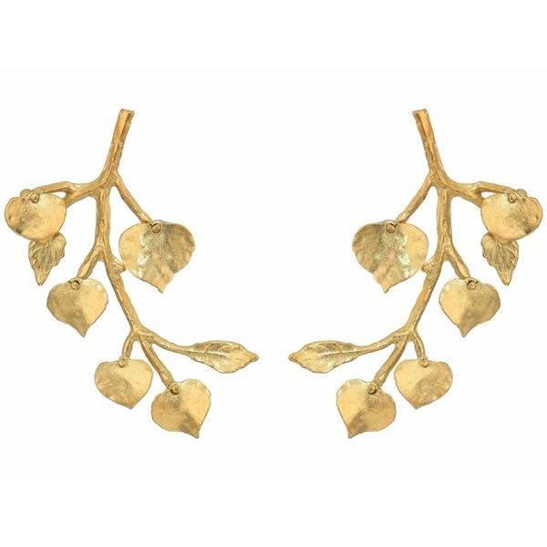 ケネスジェイレーン レディース ピアス&イヤリング アクセサリー Branch with Leaf Pierced Earrings Satin Gold