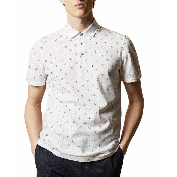 テッドベーカー メンズ シャツ トップス Mixing Short Sleeve Textured Polo with Geo Print White