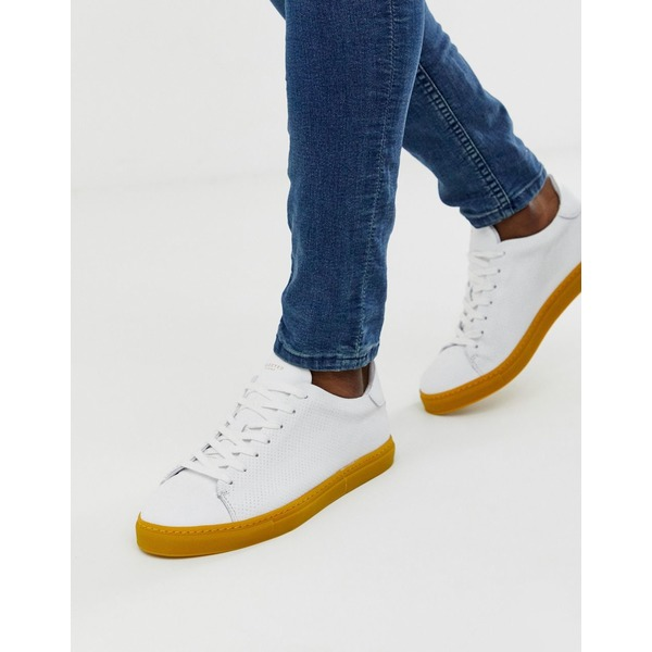 セレクテッドオム メンズ スニーカー シューズ Selected Homme leather sneakers with contrast yellow sole Mango mojito