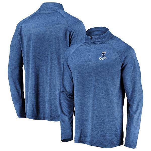 ファナティクス メンズ ジャケット&ブルゾン アウター Kansas City Royals Fanatics Branded Iconic Striated Primary Logo Raglan Quarter-Zip Pullover Jacket Royal