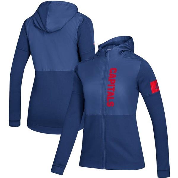 アディダス レディース ジャケット&ブルゾン アウター Washington Capitals adidas Women's Game Mode Full-Zip Jacket Navy