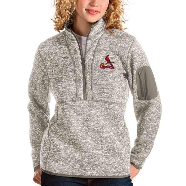 アンティグア レディース シャツ トップス St. Louis Cardinals Antigua Women's Fortune Quarter-Zip Pullover Jacket Oatmeal
