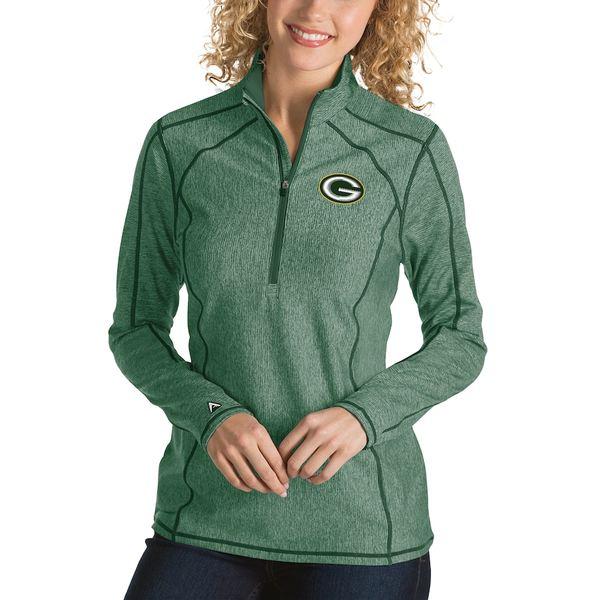アンティグア レディース ジャケット&ブルゾン アウター Green Bay Packers Antigua Women's Tempo Desert Dry Quarter-Zip Jacket Heather Green