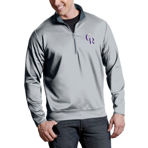 アンティグア メンズ ジャケット&ブルゾン アウター Colorado Rockies Antigua Leader Quarter-Zip Pullover Jacket Silver