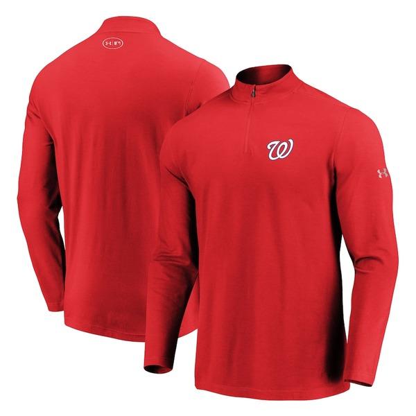 アンダーアーマー メンズ ジャケット&ブルゾン アウター Washington Nationals Under Armour Passion Performance Tri-Blend Quarter-Zip Pullover Jacket Red
