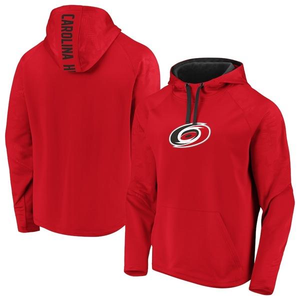 ファナティクス メンズ パーカー・スウェットシャツ アウター Carolina Hurricanes Fanatics Branded Monochrome Raglan Pullover Hoodie Red