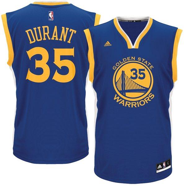 アディダス メンズ シャツ トップス Kevin Durant Golden State Warriors adidas Road Replica Jersey Royal