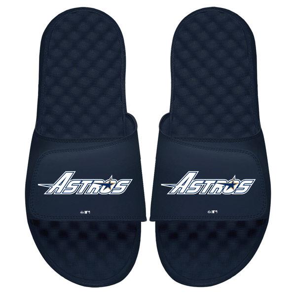 アイスライド メンズ サンダル シューズ Houston Astros ISlide Cooperstown Wordmark Logo Slide Sandals Navy