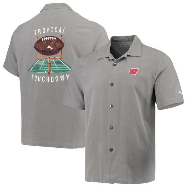 トッミーバハマ メンズ シャツ トップス Wisconsin Badgers Tommy Bahama Tropical Touchdown Camp ButtonUp Shirt Gray