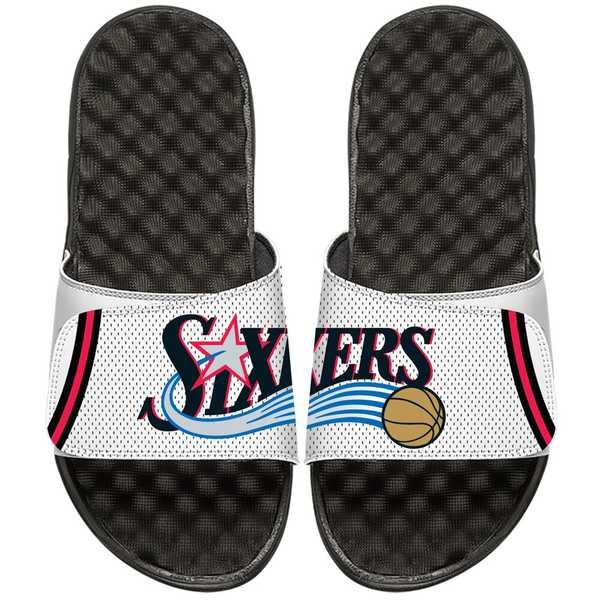 アイスライド メンズ サンダル シューズ Philadelphia 76ers ISlide NBA Hardwood Classics Jersey Slide Sandals White/Black