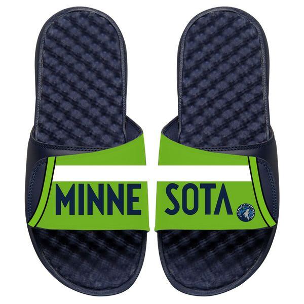 アイスライド メンズ サンダル シューズ Minnesota Timberwolves ISlide Statement Jersey Split Slide Sandals Navy