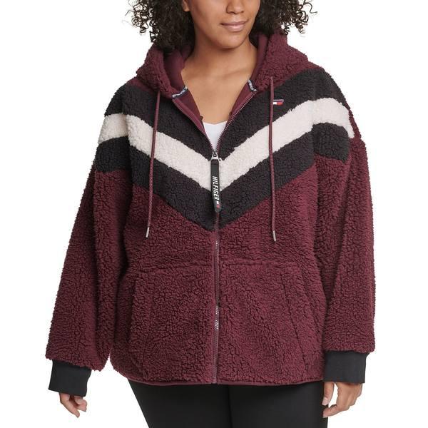 トミー ヒルフィガー レディース アウター ジャケット 豪華な ブルゾン Dark 国内在庫 Plus Hoodie Zip-Up Size Fleece Red 全商品無料サイズ交換