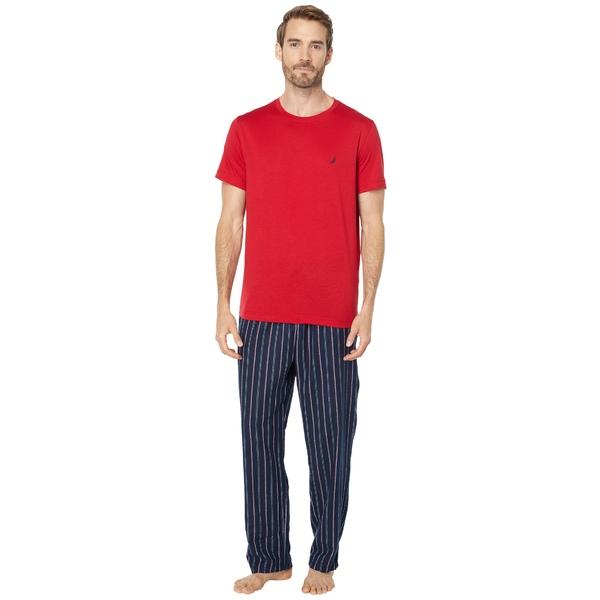 ナウティカ メンズ アンダーウェア 開催中 ナイトウェア Nautica Red Pajama 全商品無料サイズ交換 10%OFF Flannel Set Striped