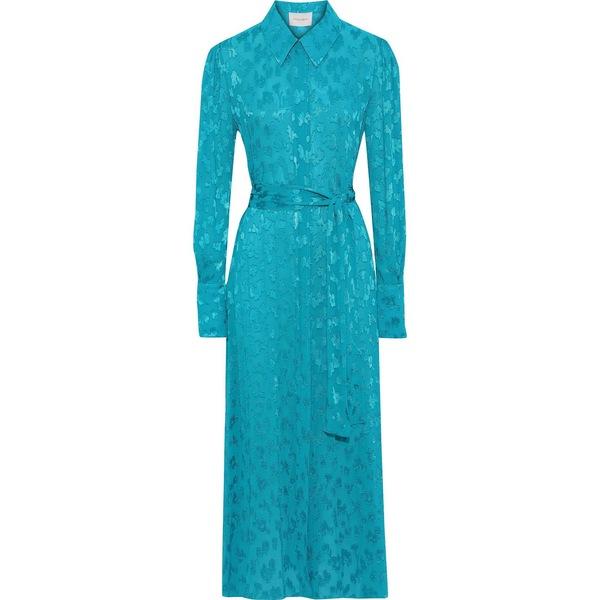 キャロライナヘレラ レディース ワンピース トップス Belted fil coup georgette maxi shirt dress Turquoise