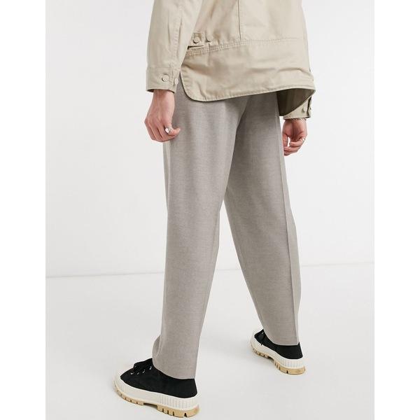 メンズ in oversized DESIGN tapered ASOS ボトムス pants gray smart Gray エイソス カジュアルパンツ flannel