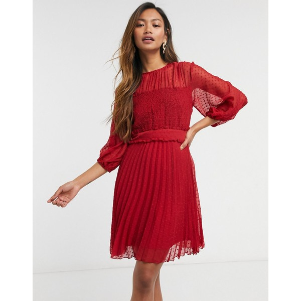 エイソス レディース トップス ワンピース Red 全商品無料サイズ交換 ASOS DESIGN mini dress textured 通販 shirred red in pleated 定価