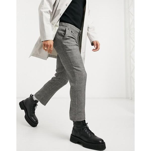 pants oversized mix wool in ボトムス crop DESIGN black カジュアルパンツ エイソス Black skinny メンズ check smart ASOS
