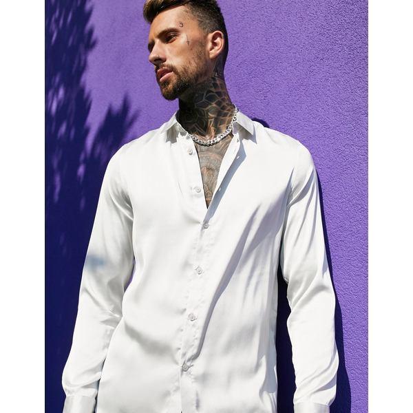 regular shirt in エイソス fit Silver satin silver シャツ ASOS DESIGN メンズ トップス