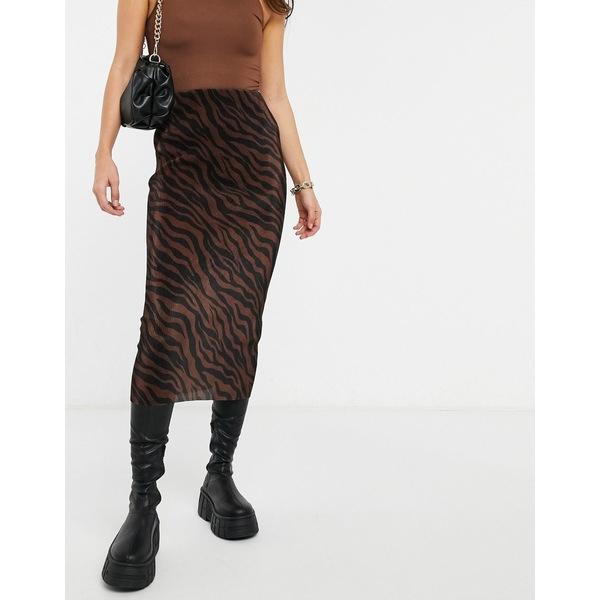 入荷中 エイソス レディース スカート ボトムス ASOS DESIGN plisse midi skirt in rust zebra print Multi, ダテマチ 1e23af68