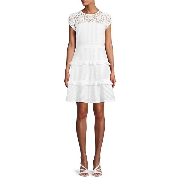 ケンジー レディース ワンピース トップス Short-Sleeve Tiered Hem Dress Ivory