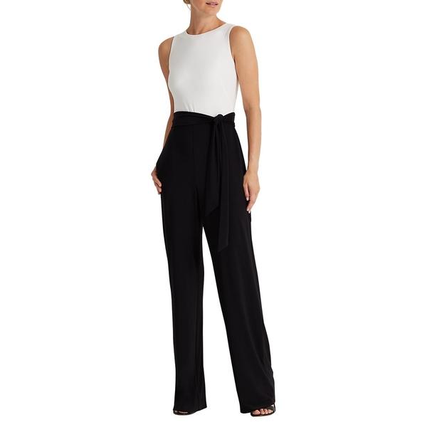 ラルフローレン レディース ワンピース トップス Two-Tone Jersey Jumpsuit Black White