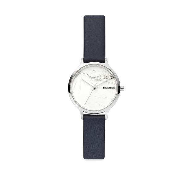 スカーゲン レディース 腕時計 アクセサリー Anita Stainless Steel and Leather Strap Watch Black